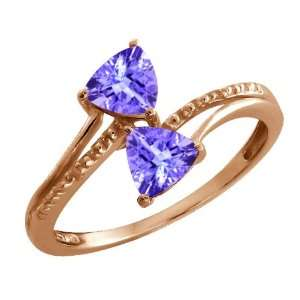 Genuine Trillion Blue Tanzanite Gemstone 18k Rose Gold Ring Jewelry