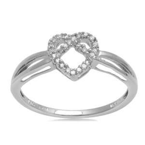 10K White Gold Diamond Heart Ring (I J Color, I3 Clarity