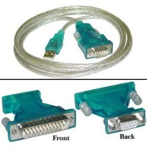 NEW USB to Serial Cable, Type A Male to DB9/DB25 Male, 6