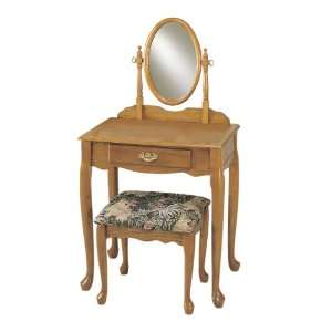 : Powell Nostalgic Oak Vanity, Mirror, and Bench Set: Home & Kitchen