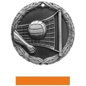 Custom Volleyball Medal M 300V SILVER MEDAL/ORANGE RIBBON