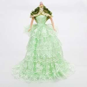 Green Wedding Dress Gown w/Scarf for Barbie Doll Toys
