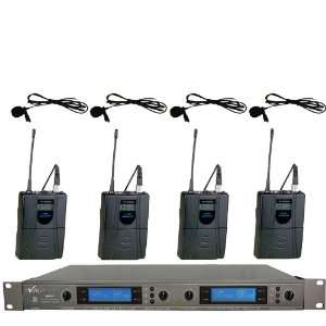 UHF 4 Channel Lavalier Wireless Microphone System Musical Instruments