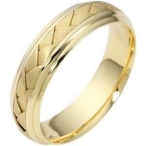 5.5mm Woven Style 18 Karat Yellow Gold Wedding Band   10 Jewelry