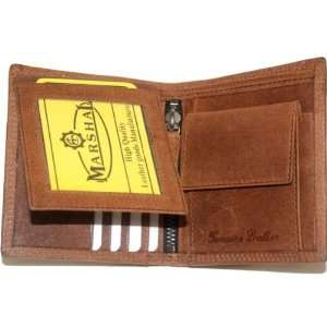 Hunter Leather Bi fold Mens Wallet Brown#HU1309 Office
