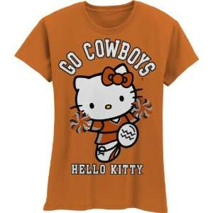 NCAA Oklahoma State Cowboys Hello Kitty Pom Pom Girls Crew Tee Shirt