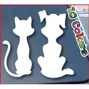 Cat and Dog Car Window Decal Sticker 8 Wide (Color White