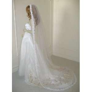 Ivory Cathedral 1 Tier Venice Mantilla Lace Wedding Bridal