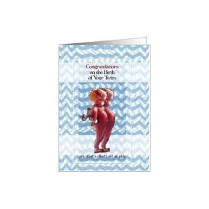 Birth of Little Devil Twins, Congratulations Card: Health