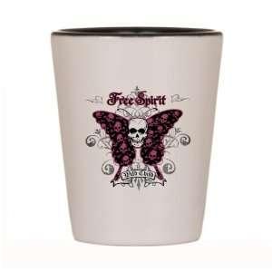 Shot Glass White and Black of Butterfly Skull Free Spirit