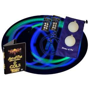 Color LED Poi Set with Nylon Cords and Art of Poi DVD Toys & Games