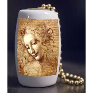com Fine Art Female Head Study by Da Vinci Porcelain Fan / Light Pull