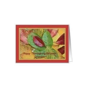 Happy Thanksgiving birthday card fall foliage grandpa Card
