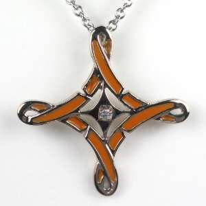 Orange Ribbons Cross W 20 Chain: Jewelry