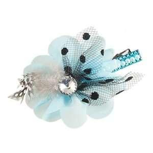 Crystal Rhinestone Blue Chiffon Flower Alligator Hair Clip