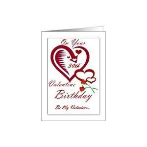Valentines Day Birthday   34th / Hearts & Roses Card