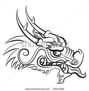 stock photo : Evil dragon head. Artwork inspired with traditional