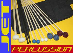 JET Percussion Mallet Pack 6 Pairs w/Bag for Xylophone Bells Marimba