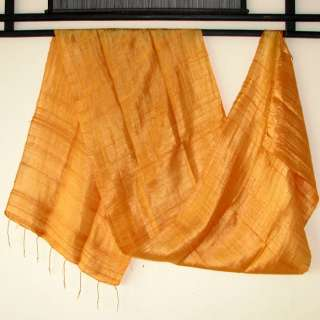 Thai Silk Fabric Scarf Shawl New Hand Craft AMBER GOLD