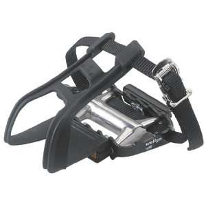 Avenir Ultralight Pedals with Toe Clips and Straps, Black