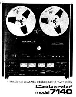 DOKORDER 7140 TAPE DECK SERVICE MANUAL ON CD R