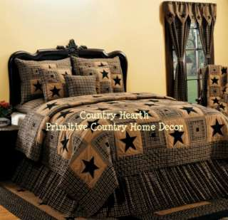 PC Vintage Black Star Queen Quilt Set Primitive Country Shams Pillow