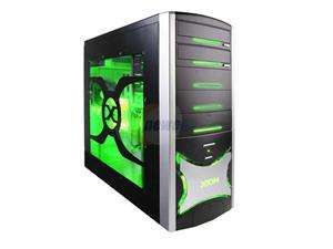 403 Black with Green LED Light Computer Case With Side Panel Window