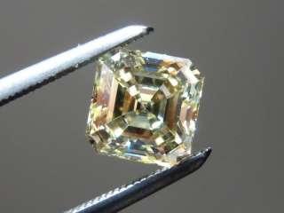 01ct Asscher Cut Fancy Light Yellow VS1 GIA Beautiful R4210 Diamonds