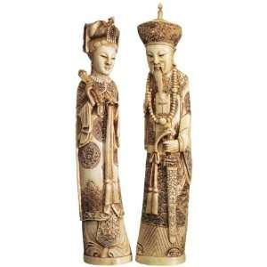 Chinese Asian Emperor and Empress Faux Ivory Statue