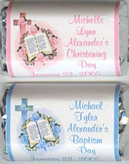 60 BABYS CHRISTENING OR BAPTISM MINI CANDY WRAPPERS