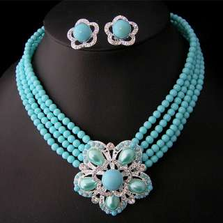 Wedding/Bridal pearl &crystal necklace earring set S165