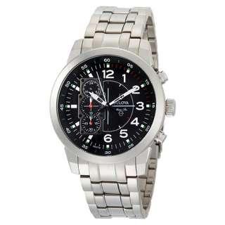 Bulova Marine Star Titanium Strap Chronograph Black Dial Mens Watches