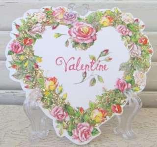 Carol Wilson Happy Valentines Card, Die Cut Embossed Rose Heart