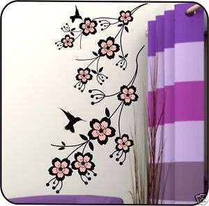Cherry Blossom Tree Branch Vinyl Wall Decals Stickers