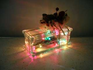 christmas present glass block decoration gift multi colored table