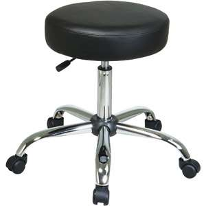 Star Products Work Smart Pneumatic Backless Drafting Chair, Black