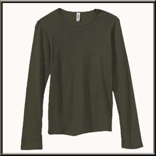 Blank Ribbed Long Sleeve Womens Cotton Shirt S 2X