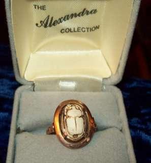 Vintage Art Deco Egyptian Scarab 18k Rose Gold Ring