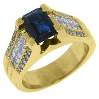 WOMENS BLUE SAPPHIRE DIAMOND ENGAGEMENT RING 3 CARAT EMERALD CUT