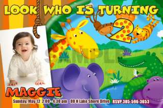 JUNGLE SAFARI ZOO 1ST BIRTHDAY PARTY INVITATION BABY SHOWER CUSTOM