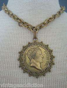 Napoleon Chunky Pendant On Gold Tone Chunky Chain Necklace