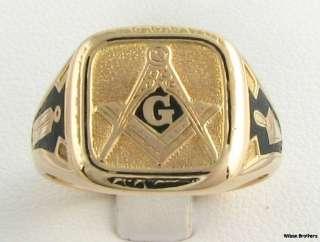 Vintage Enameled Symbol Mason Ring   14k Solid Gold Unique 8.3g