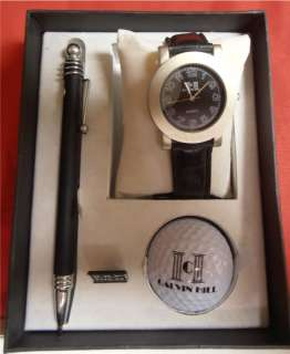 Calvin Hill Silver Watch Pen and Golf Ball GIft Set