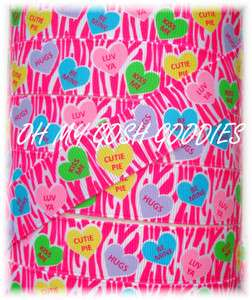 CONVERSATION CANDY HEARTS HOT PINK ZEBRA GROSGRAIN RIBBON 4 BOW