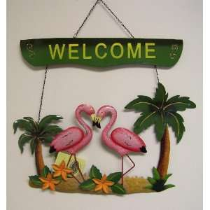 Pink Flamingo Palm Tree Welcome Wall Art Sign: Home