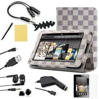 For Kindle Fire  PU Leather Folio Case/Car Charger/USB Cable/Stylus/Ea