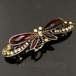 Item  antiqued rhinestone crystal dragonfly hair barrette
