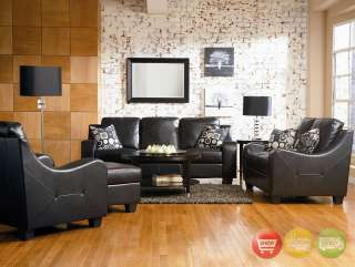Java Modern Black Leather Sofa Love Seat, Chair & Ottoman Living Room