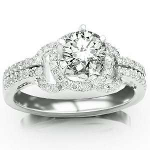 Halo Style Pave Set Round Diamonds Engagment Ring with a 0