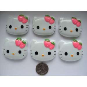 Xl Resin Cabochon Flat Back Kitty Cat Hot Pink Strawberry Cellphones